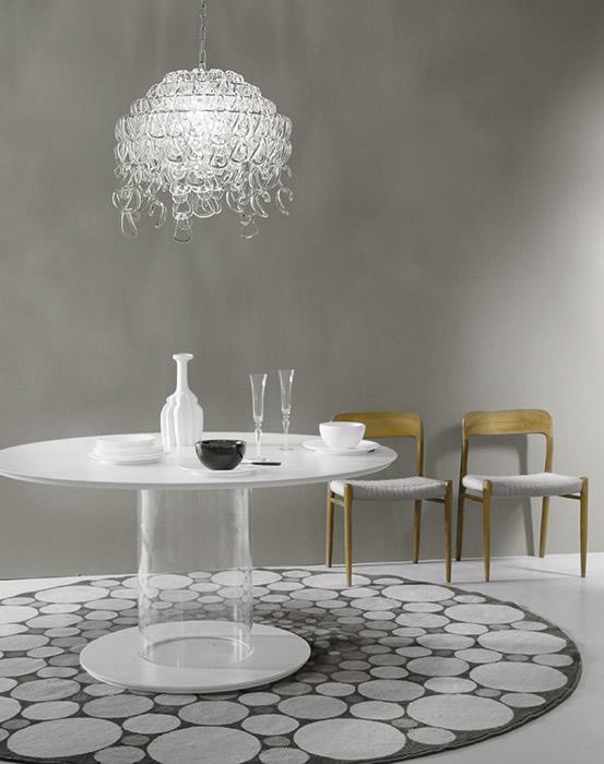 kroonluchter glas kristal eettafel hanglamp