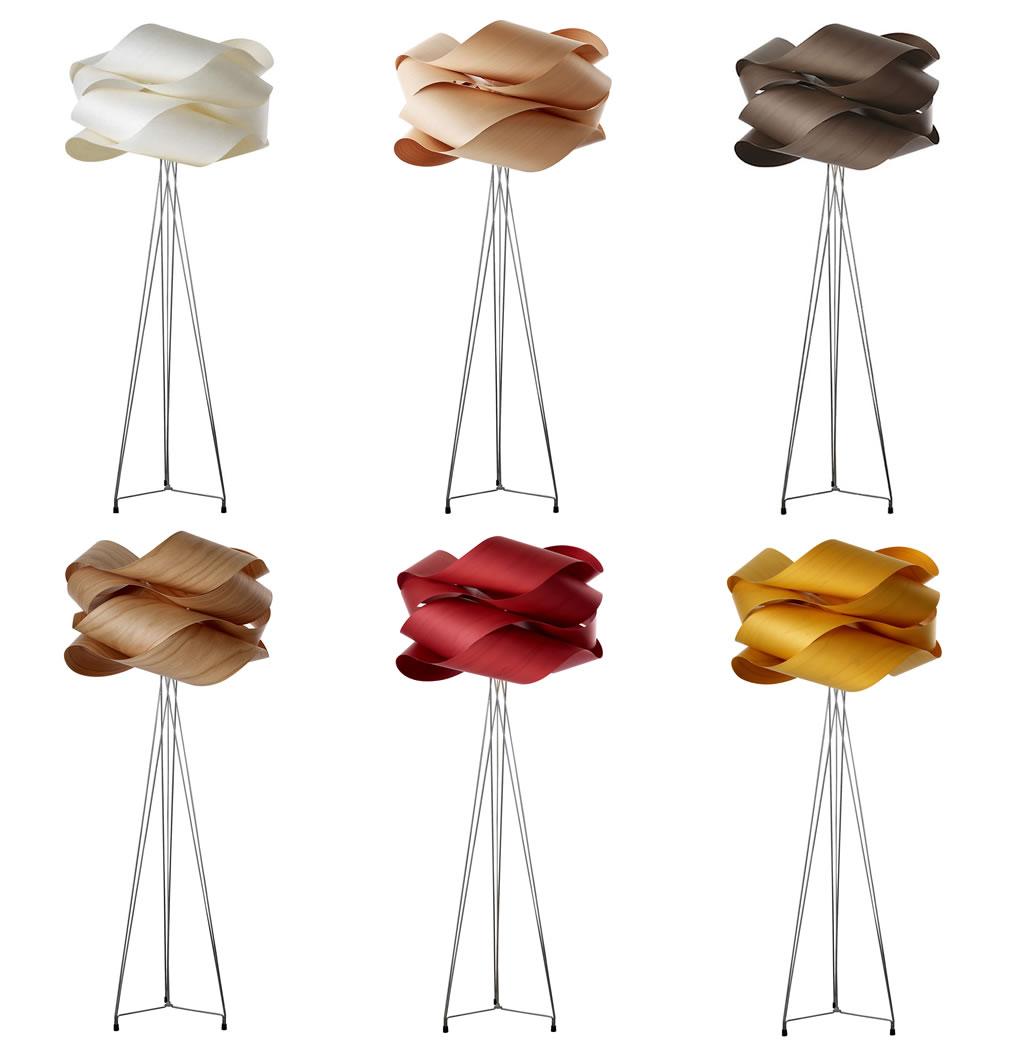 Houtfineer staande lamp in diverse kleuren for Designer lampen