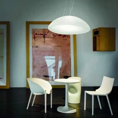 Witte glazen design hanglamp