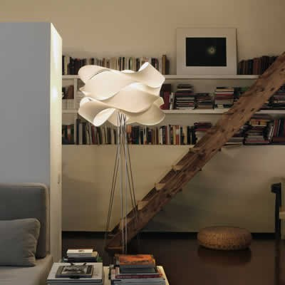 Houten design vloerlamp