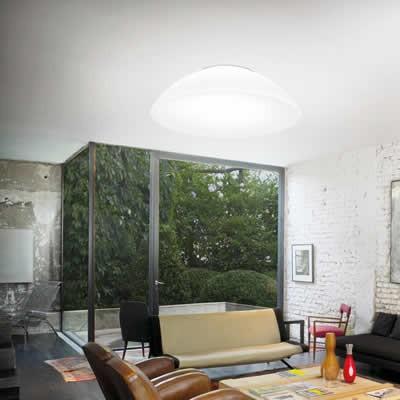 Witte glazen plafondlamp